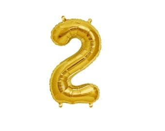 "Gold Number 2 Balloons, 13.5"" or 34"" Tall Foil Balloon 90cm Second Birthday Balloon Alphabet or Number Foil Balloon - Foil Mylar -"