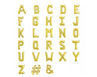 Gold Letter Balloons, Small, 13.5IN, Foil Birthday Name Age Wedding Alphabet Symbols Party Baby Shower Hashtag Number Wedding Birthday