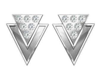 Earrings Triangle with Swarovski Elements Sterling Silver 925
