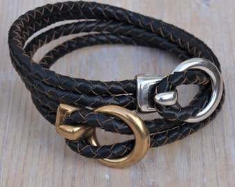 leather braided bracelet for men, black leather, hook clasp, brass or silver