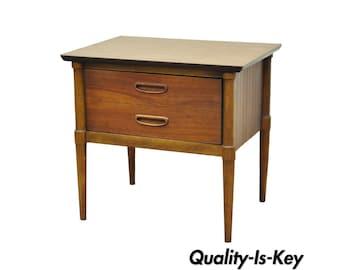 Vintage Lane Mid Century Modern Walnut U0026 Laminate Nightstand Lamp End Side  Table