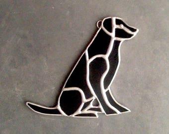 Dog decorations, labrador retriever, black lab, black animal decor, glass dog, lab art, black retriever, lab ornament, stained glass dog