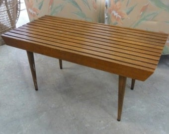 Mid Century Modern Slat Bench Palm Beach Regency