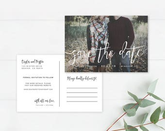 Printable Save the Date Postcard | Save Our Date Postcard | Photo Save the Date Postcard | Calligraphy Save Our Date | Save the Date | DIY