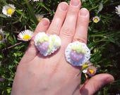 Strawberry angel doily rings yumekawaii lolita kawaii