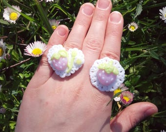Strawberry angel doily rings yumekawaii lolita kawaii