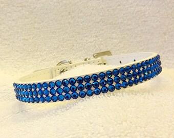Rhinestone Dog Collar, Swarovski Crystal Collar, SMALL Blue Bling Pet Collar with Rhinestone Buckle