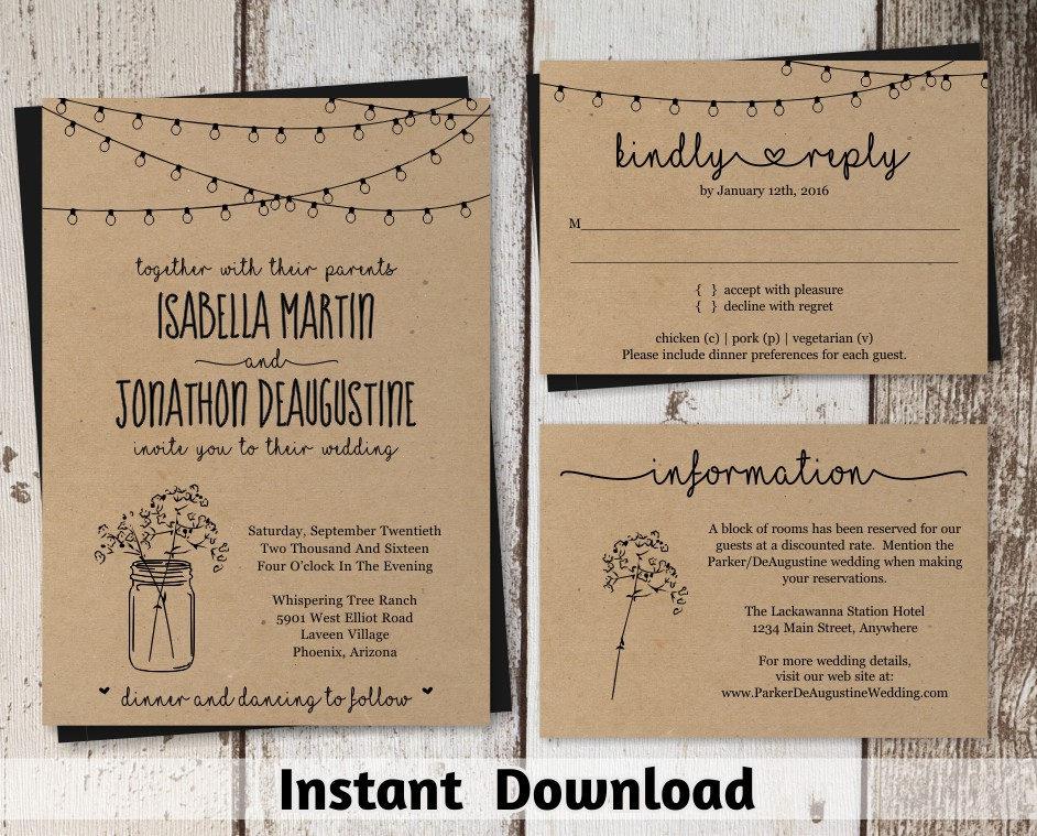 Free Rustic Wedding Invitation Templates: Wedding Invitation Template Rustic Mason Jar & Fairy Lights