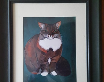 Cat - Framed Print of Original Artwork - Green