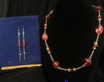 Red and Silver Jewelry Set