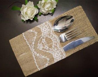 Set of 10-Burlap Silverware Holders,Burlap table decoration,Rustic table decor, Wedding Table Set,Table Setting,Wedding Rustic Menu-012