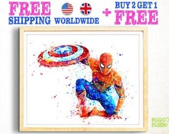 Spiderman Poster spiderman print Spiderman watercolor art spider man watercolor painting home decor wall art Avengers superhero gift -362