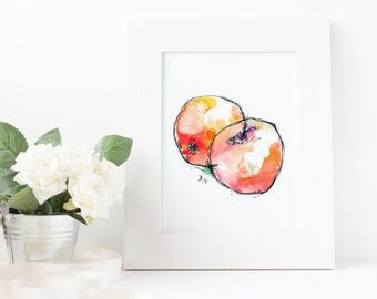 Hand-Illustrated Food Print - Apples