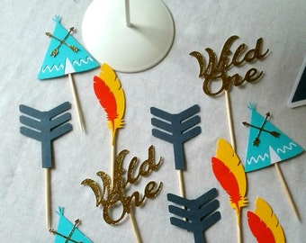 Wild One Tribal Cupcake Toppers - Tribal food picks - Tribal Party - First Birthday - party supplies - boho decor - aztec party