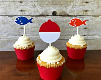 Fishing Cupcake Toppers - gone fishing - the big one - party supplies