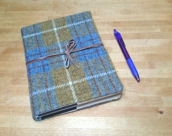 Harris Tweed Boswell Bujo Notebook Cover A5 size Mustard & Denim Check Tartan Leather Wrap Tie - Handmade writing journal wedding guest book