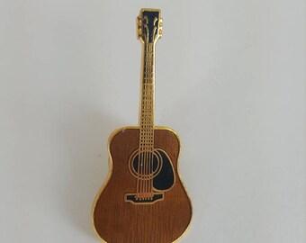 Vintage metal and enamel DUNLOP acoustic GUITAR lapel pin