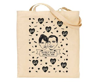 Custom Promo Tote / Couple portrait / Welcome bag / Personalised bag / Wedding / Wedding favors for guest / Personalized gift couple / Party