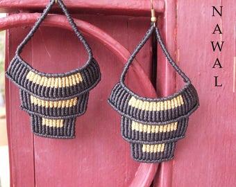 Black n Gold micro macrame earrings!