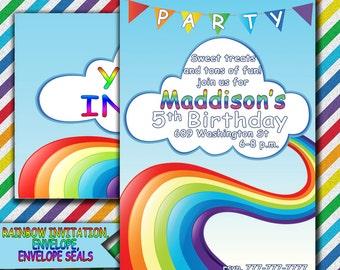 Rainbow Party, Rainbow Invitation, Rainbow Birthday Invitation, Rainbow Printable Invitation, Rainbow Dash Inspired Invitation