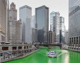 Green Chicago River Photo Art, Saint Patricks Day, Riverboat, Chicago Cityscape, St Patrick Wall Art, Irish Gift, Chicago Photography