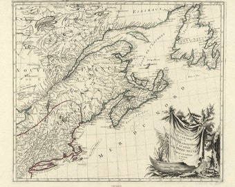 Canada - North Atlantic Map - 1776