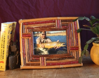 5x7 Rustic Picture Frame- First Catch Frame- Fishing Frame- Hunting Frame- Nature Frame- Twig Frame- Birch Bark Frame-  Camping Frame