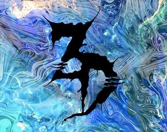 Zeds Dead Blue Swirl Black Flag