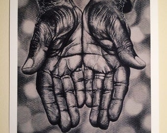 Giving Hands Drawing Print