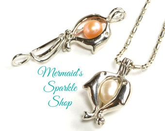 Pearl Cage Pendant, Dolphin Pearl Cage, Pearl Pendant, Dolphin Pendant, Silver Pearl Cage, Dolphin Cage, Pearl & Chain sold separately