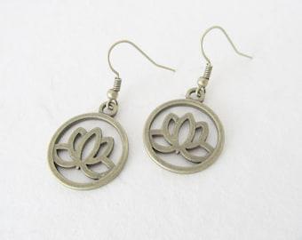 Lotus earrings, lotus jewelry, bronze earrings, yoga earrings