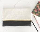 Large foldover clutch/ clutch/ purse/ white linen