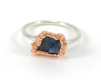 Raw Stone Ring, Sapphire Ring, Raw Crystal, Electroformed Ring, Silver and Copper Ring, Blue Gemstone, September Birthstone, Stacking Ring