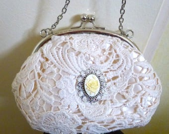 bag pouch wedding cameo ivory lace