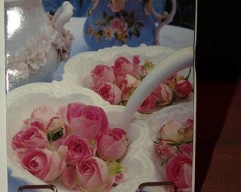 9 Mini Notelets  Pink Rosebuds
