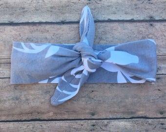 Antler headband - Baby Girl Knot Headband - Baby Head wrap - Baby Tie Knot Head Wrap - Turban Headband - Fabric Baby Headband - Gray band