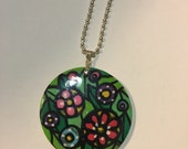 Bright Flowers Art Pendant Original Painting on Wooden Round Pendant Handmade Unique Handpainted with Silver Ball Chain