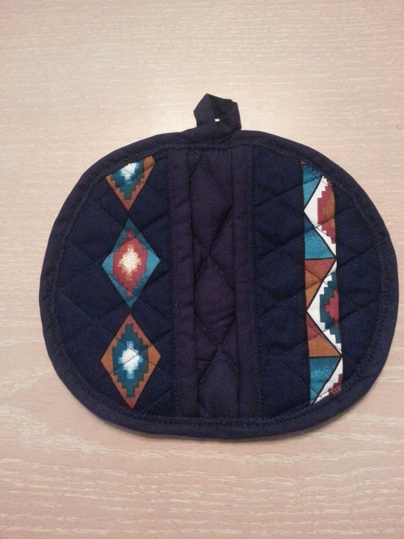 "Handmade "" Native Indian Print "" Potholder / Trivet"