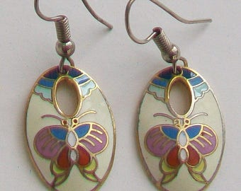 Cloisonne Enamel Butterflies Earrings