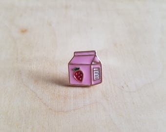 Strawberry Milk Carton Enamel Pin