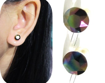 Swarovski Rhinestone Clip on earrings |CS27| Dark Rainbow Bridal Invisible clip-on Bridal Clip Wedding Clip on earrings Non Pierced Earrings