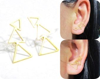 CLIP ON Ear climbers earrings 12Ag Triple Triangle Non Pierced stud earrings Gold Dainty Ear Cuffs Clip on earrings Cartilage clip earring