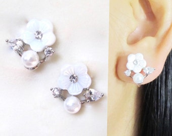 CZ Crystal White Wedding Flower Clip on Earrings |20F| Pearl Bridal clip on earrings Stud Silver Clip on earrings Non pierced earrings