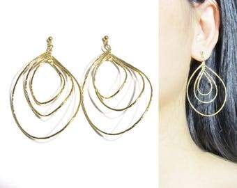 Invisible Clip-ons |24A| Triple Hoop Clip on Earrings Gold Tone Dangle Clip on Earrings Big Bold Statement Drop Clipon Non Pierced Earrings