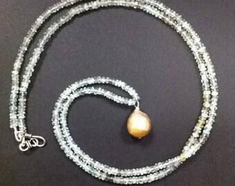 Moss Aquamarine Baroque Pearl Necklace