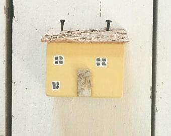 Yellow Little House, Wooden House, Reclaimed Wood House, Miniature Cottage, New Home Gift, Little Wood House, House Ornament, Gift for Mum