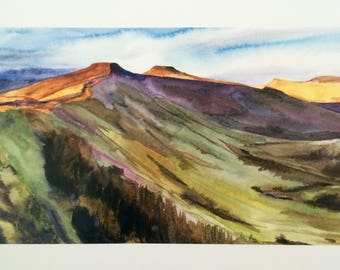 Brecon Beacons, Pen y Fan, Wales painting, Welsh landscape, South Wales, landscape watercolor, mountain painting, British countryside, Wales