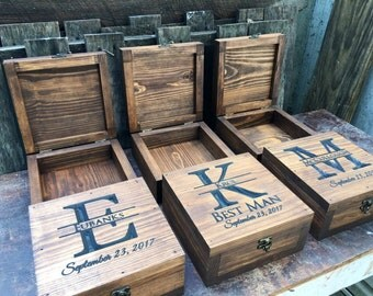 Groomsmen gift set of 5-12 -Groomsen box - Memory box - Keepsake box - Bestman gift - Groomsmen gift - Gift for men - Gift for him - Wedding