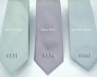 No#131,134,160, semi shiny whimsical sage,lilac,pewter,muted ties,neutral grey ties,groomsmen,men,dusty wedding,neutral subtle wedding theme