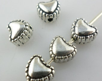 200 Silver Tone Tiny Heart Spacer Beads 5x5mm